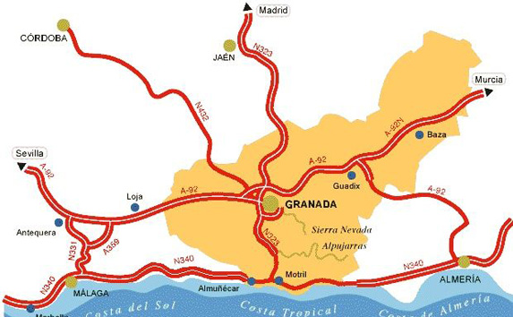 Access map to Granada